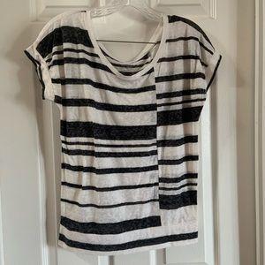Ann Taylor Loft Black/White Burnout Stripe Top XS